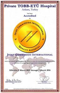 JCI standartları belgemiz yeniden akredite edilmiştir. Ankara'da JCI Belgesi'ni 2005 yılında ilk kez almaya hak kazanan hastanemiz, Türkiye Odalar Borsalar Birliği'nin gücü ve kalitesiyle yola çıktığı üçüncü denetimden de başarıyla geçerek kendisiyle yarışır bir hastane olduğunu ispat etmiştir. TOBB ETÜ Hastanesi 02 Mart 2013 tarihinde JCI'ın yenilenen akreditasyon standartlarına tam uyumunu belgelenmiş ve yeniden akredite edilmiştir.