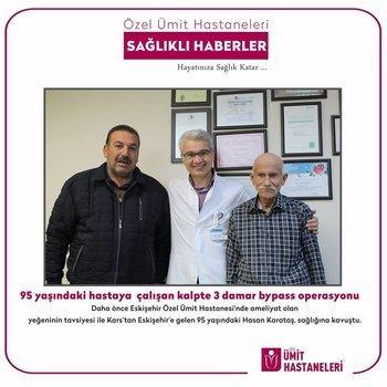 95 yaşındaki hastaya çalışan kalpte 3 damar bypass operasyonu