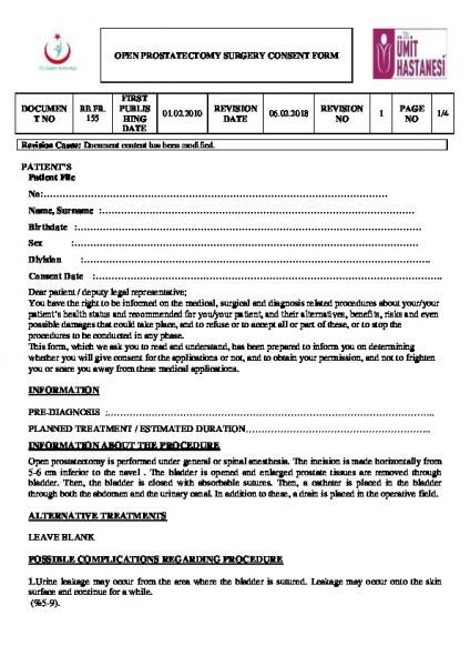 OPEN PROSTATECTOMY SURGERY CONSENT FORM