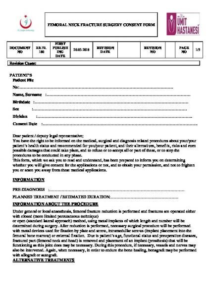 FEMORAL NECK FRACTURE SURGERY CONSENT FORM