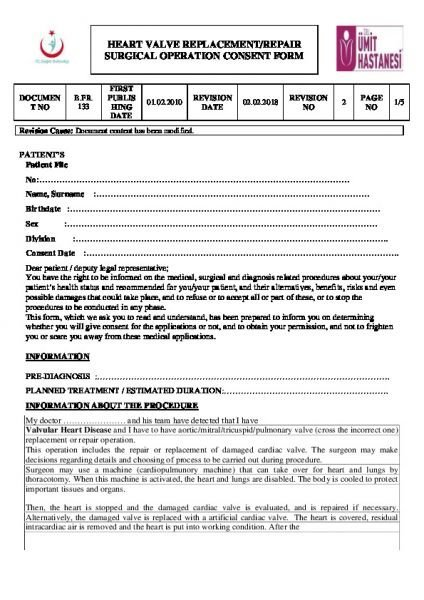 HEART VALVE REPLACEMENT/REPAIR SURGICAL OPERATION CONSENT FORM