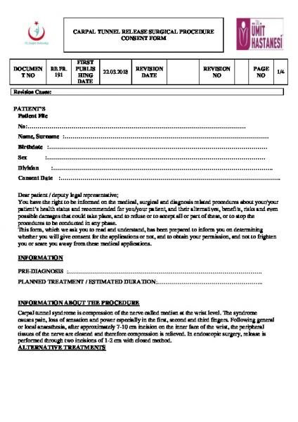 CARPAL TUNNEL RELEASE SURGICAL PROCEDURE CONSENT FORM