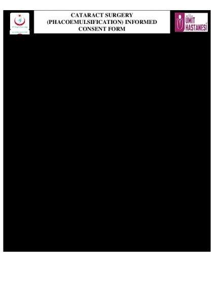 CATARACT SURGERY (PHACOEMULSIFICATION) INFORMED CONSENT FORM