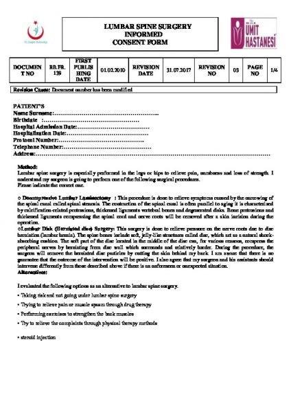 LUMBAR SPINE SURGERY INFORMED CONSENT FORM
