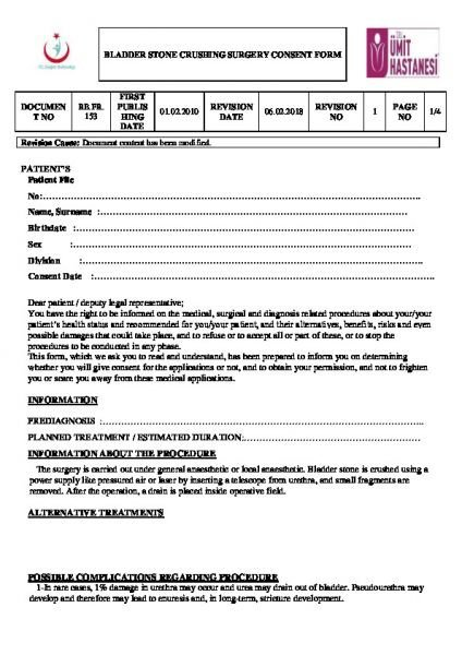 BLADDER STONE CRUSHING SURGERY CONSENT FORM