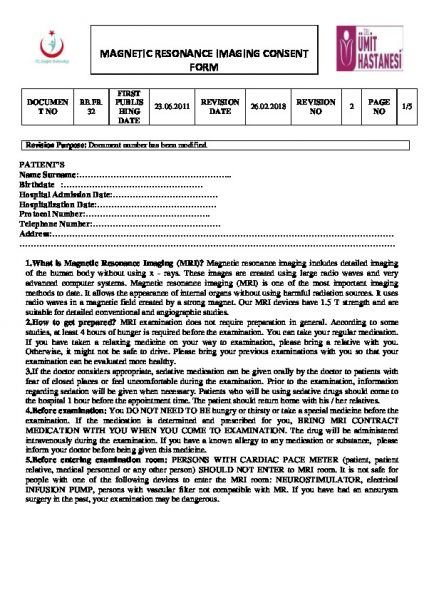 MAGNETIC RESONANCE IMAGING CONSENT FORM