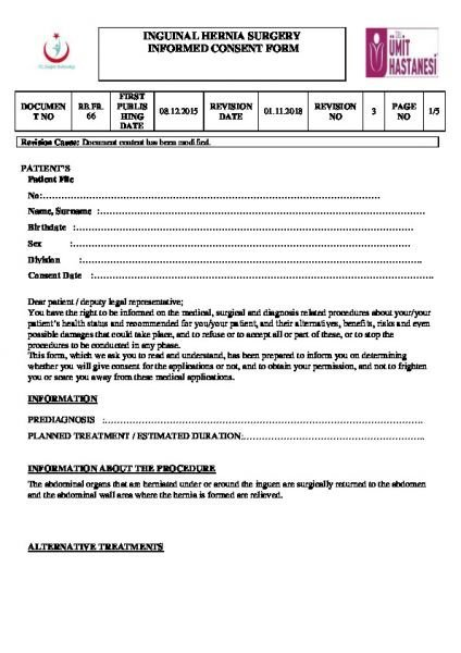 INGUINAL HERNIA SURGERY INFORMED CONSENT FORM