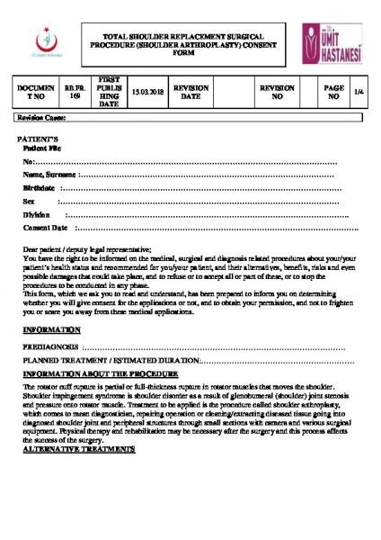 TOTAL SHOULDER REPLACEMENT SURGICAL PROCEDURE (SHOULDER ARTHROPLASTY) CONSENT FORM