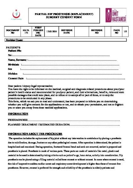 PARTIAL HIP PROSTHESIS (REPLACEMENT) SURGERY CONSENT FORM