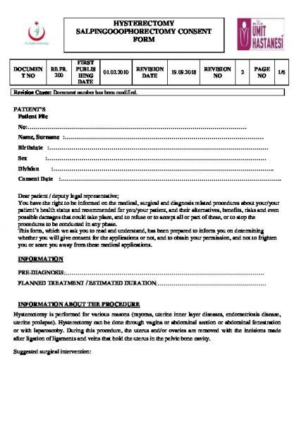 HYSTERECTOMY SALPINGOOOPHORECTOMY CONSENT FORM