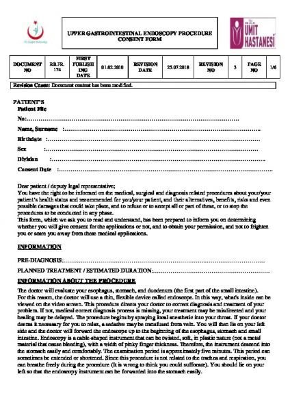 UPPER GASTROINTESTINAL ENDOSCOPY PROCEDURE CONSENT FORM