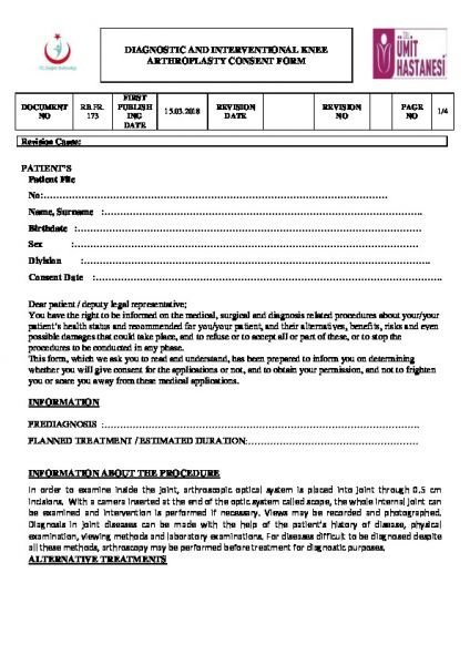 DIAGNOSTIC AND INTERVENTIONAL KNEE ARTHROPLASTY CONSENT FORM