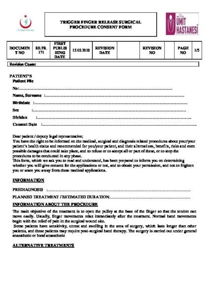 TRIGGER FINGER RELEASE SURGICAL PROCEDURE CONSENT FORM
