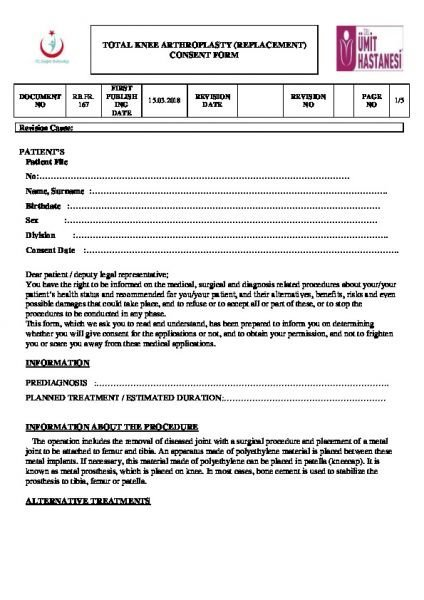 TOTAL KNEE ARTHROPLASTY (REPLACEMENT) CONSENT FORM