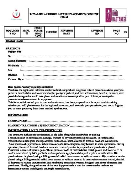 TOTAL HIP ARTHROPLASTY (REPLACEMENT) CONSENT FORM