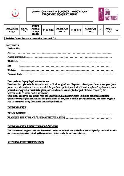 UMBILICAL HERNIA SURGICAL PROCEDURE INFORMED CONSENT FORM