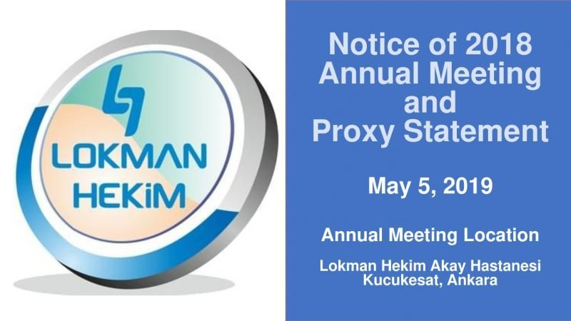 2018 AGM and Proxy Statements