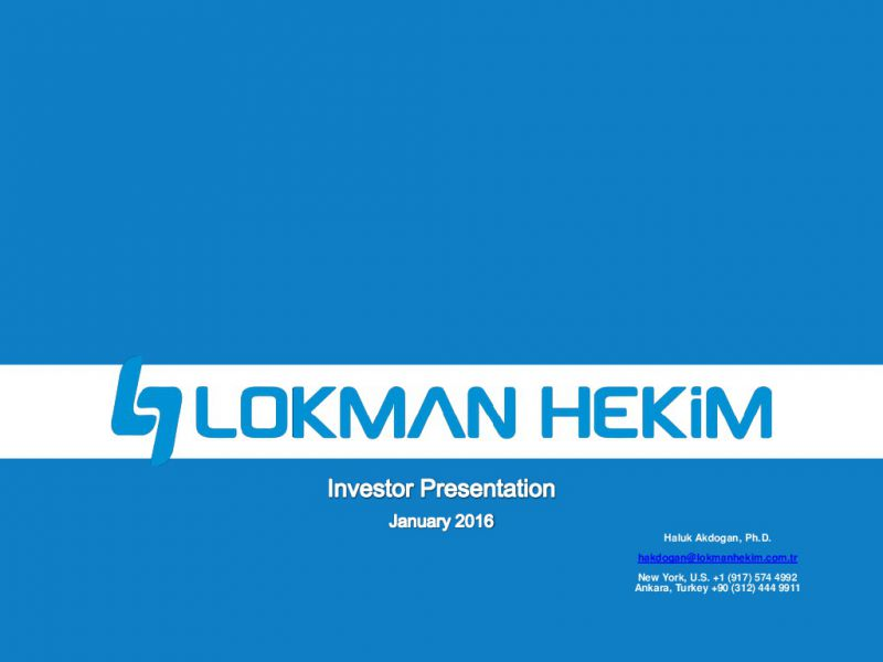Up to date Investor Presentation