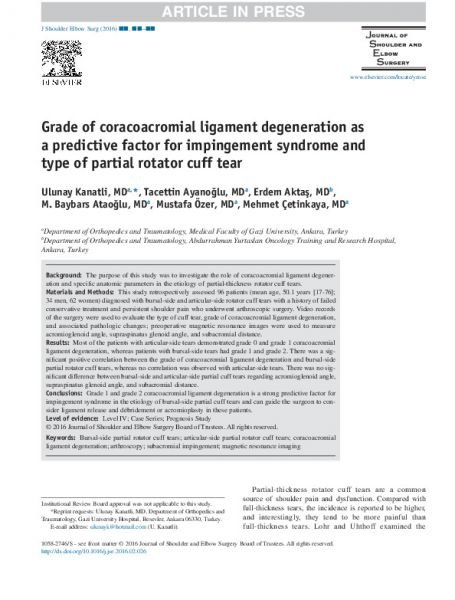 Grade of coracoacromial ligament degeneration as a predictive factor for impingement syndrome and type of partial rotator cuff tear