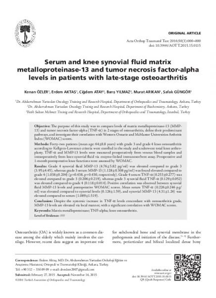 Serum and knee synovial fluid matrix metalloproteinase-13 and tumor necrosis factor-alpha levels in patients with late-stage osteoarthritis