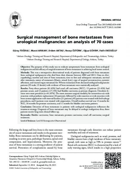 Surgical management of bone metastases from urological malignancies: an analysis of 70 cases