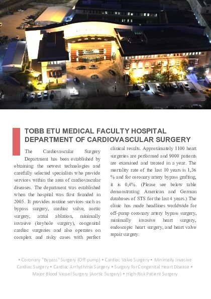 Cardiovascular Surgery Department Catalog